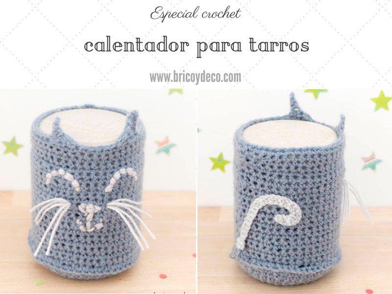 Funda de crochet para tarros de vidrio con forma de gato | crochet ...