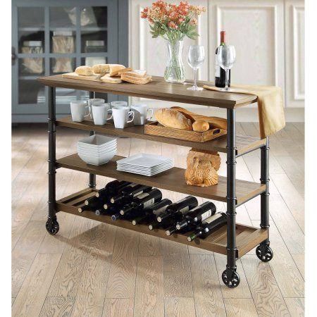 Whalen Santa Fe Kitchen Cart With Wine Rack Brown