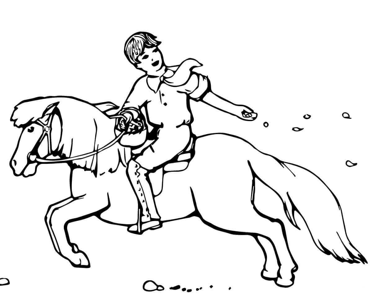 Boy Sowing Seeds While Riding A Pony Coloring Page Horse Coloring Pages Coloring Pages Horse Coloring [ 992 x 1200 Pixel ]
