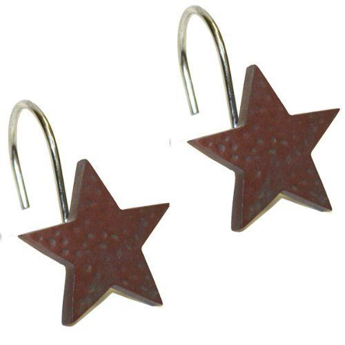 Red Star Shower Curtain Hooks By Park Designs Rustic Star Home