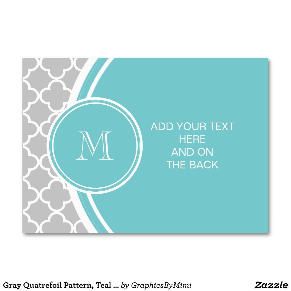 Gray Quatrefoil Pattern, Teal Monogram Large Business Cards (Pack Of ...
