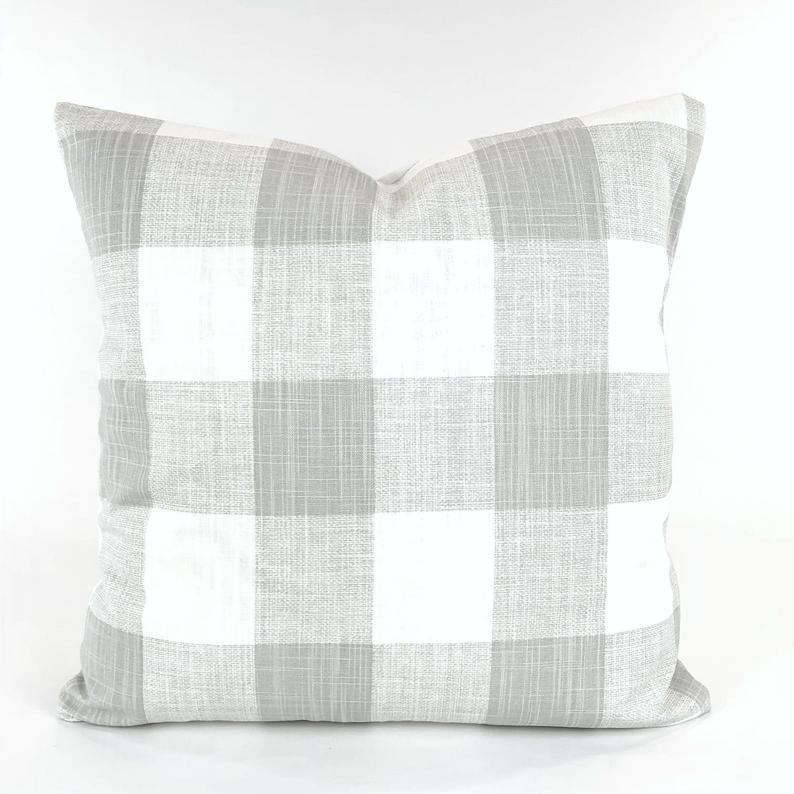 gray plaid pillow covers online