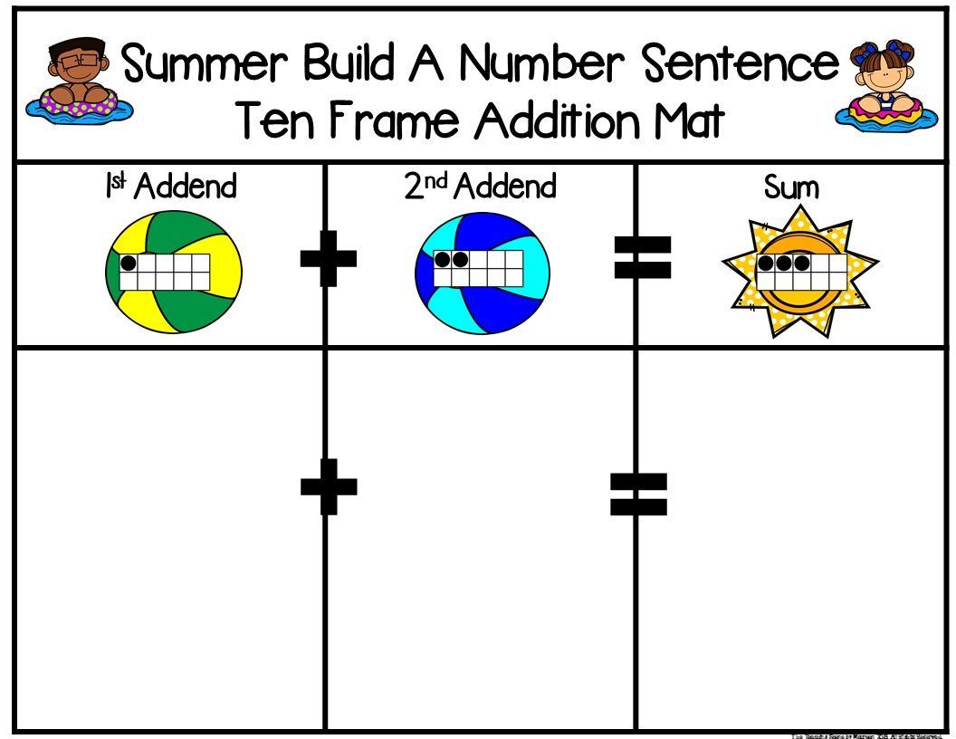 Summer 2 Addend Addition Amp Subtraction With Ten Frames