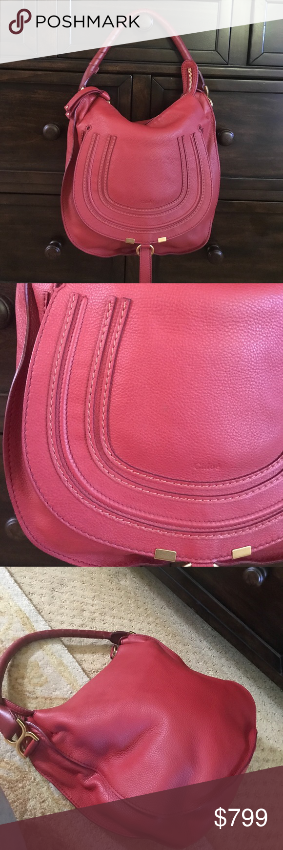 """Authentic Chloe red Marcie hobo w duster Like new! Cherry red Chloe Marcie hobo. Includes cards and duster. Make your own luck with this horseshoe Chloe hobo. Enduring pebbled calfskin. Shiny golden hardware. Wrapped top handle with signature Chloe bow-shaped buckle. Dipped zip top fits snugly under the arm. Pintucked horseshoe flap-pocket on front; slide-ring closure. Tooled """"Chloe"""" logo on center; fluted edges. Interior zip and cell phone pockets. 12 1/2""""H x 12 1/4""""W x 3 3/4""""D. Made in…"""