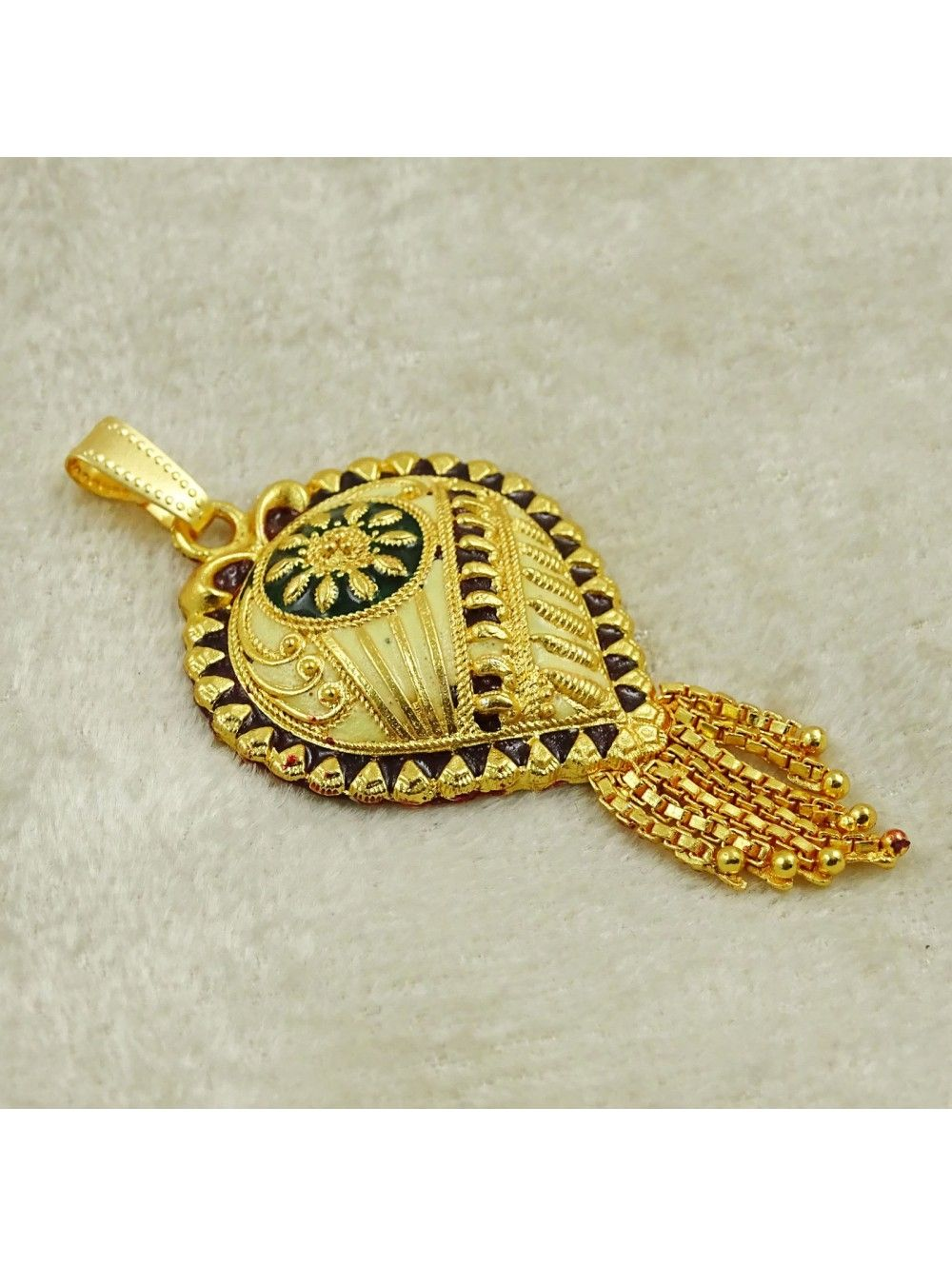 18K Goldplated Traditional Indian Ethnic Chain Pendant Designer