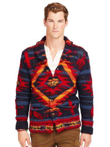 Cardigan Blend Polo Lauren Wool Ralph Patterned 6f7yYvbg