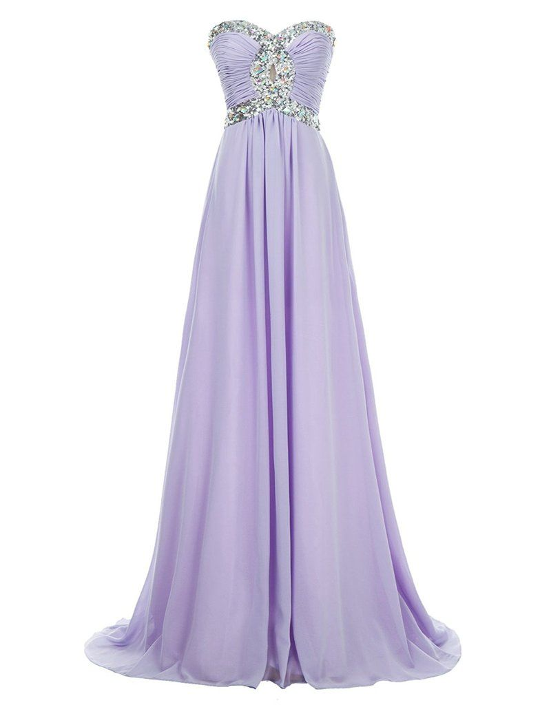 Long Chiffon Prom Dress 2017 Evening Gown Crystal Beaded | Elastic ...