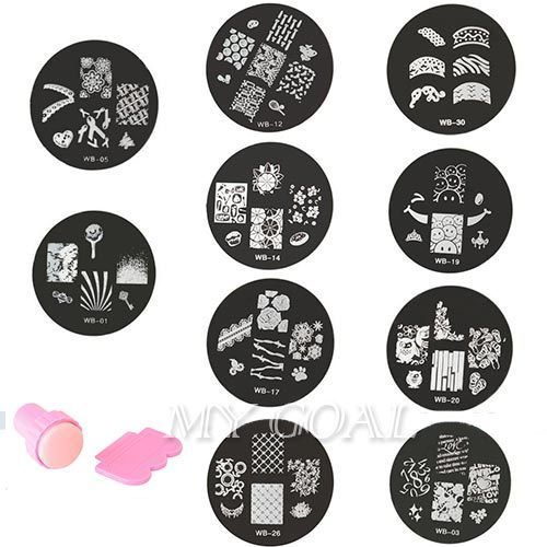 10pcs Nail Art tool kit Stamp Stamping Stamper Scraper Finger Polish Image Plate #Unbranded