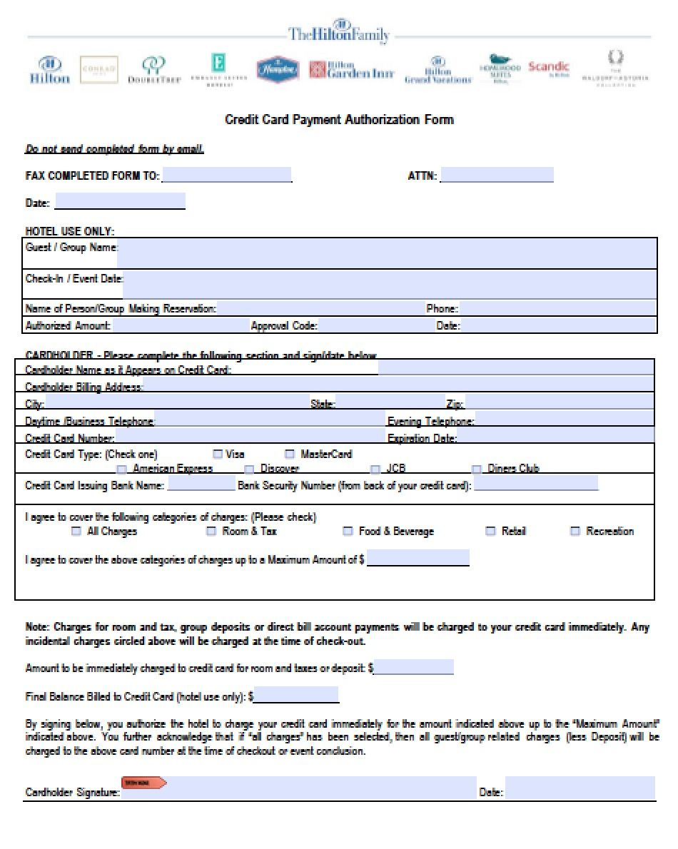 Hotel Reservation Form Template Download Hilton Credit Card