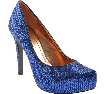 BCBGeneration Parade Dark Navy Blue Candie Glitter Sequined High Heel Pumps