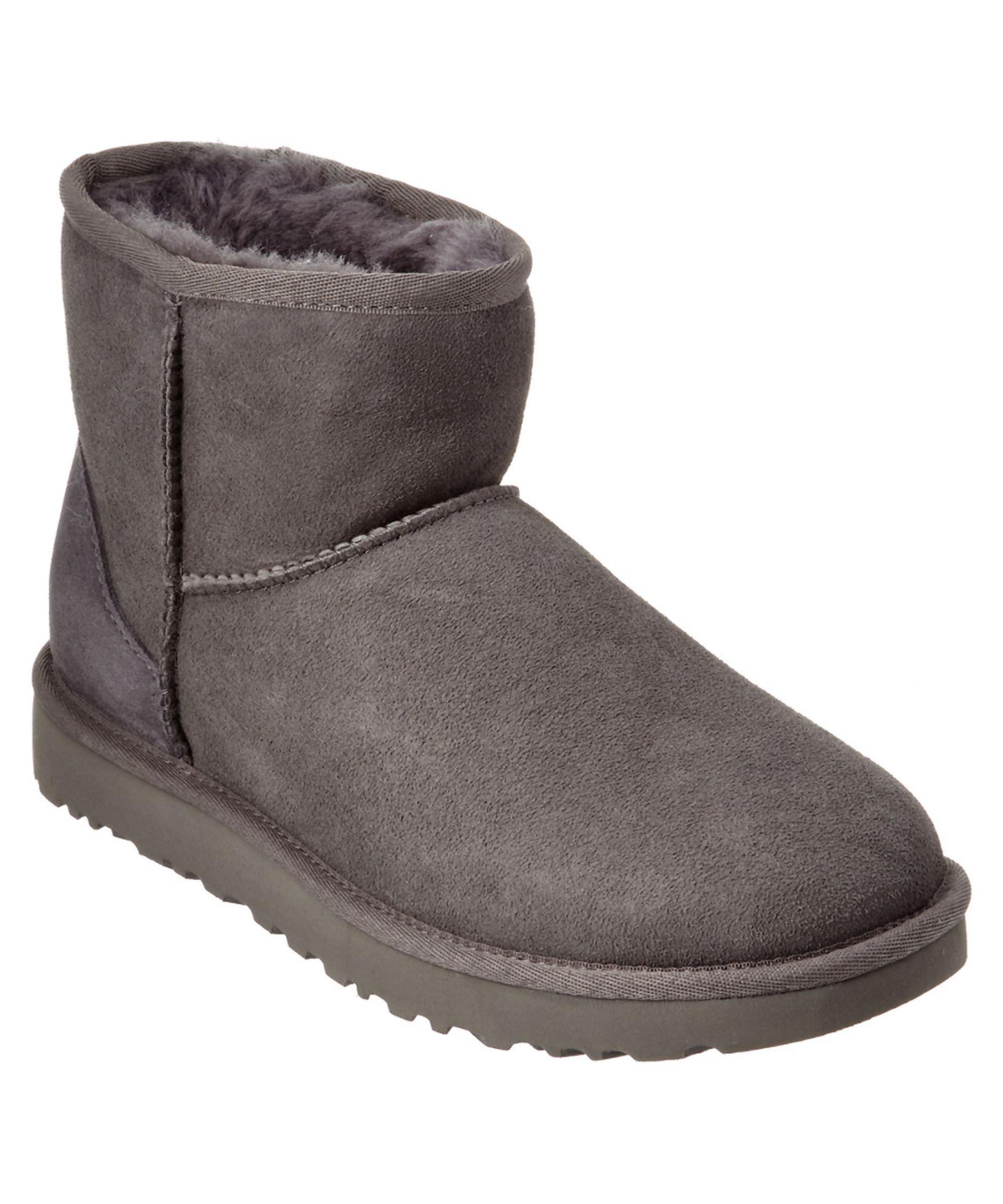 Women's Classic Mini Twin-Face Sheepskin Boots Grey