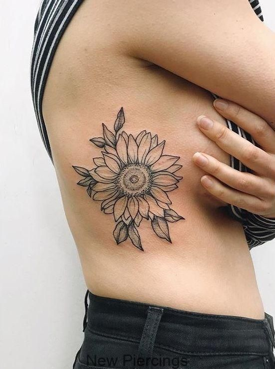 Sunflower rib tattoo , #sunflower #tattoo – – #Uncategorized,  #rib #Sunflower #sunflowerthig…