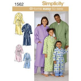Simplicity Pattern 1562 Child's, Teens' and Adults' Robe and Belt