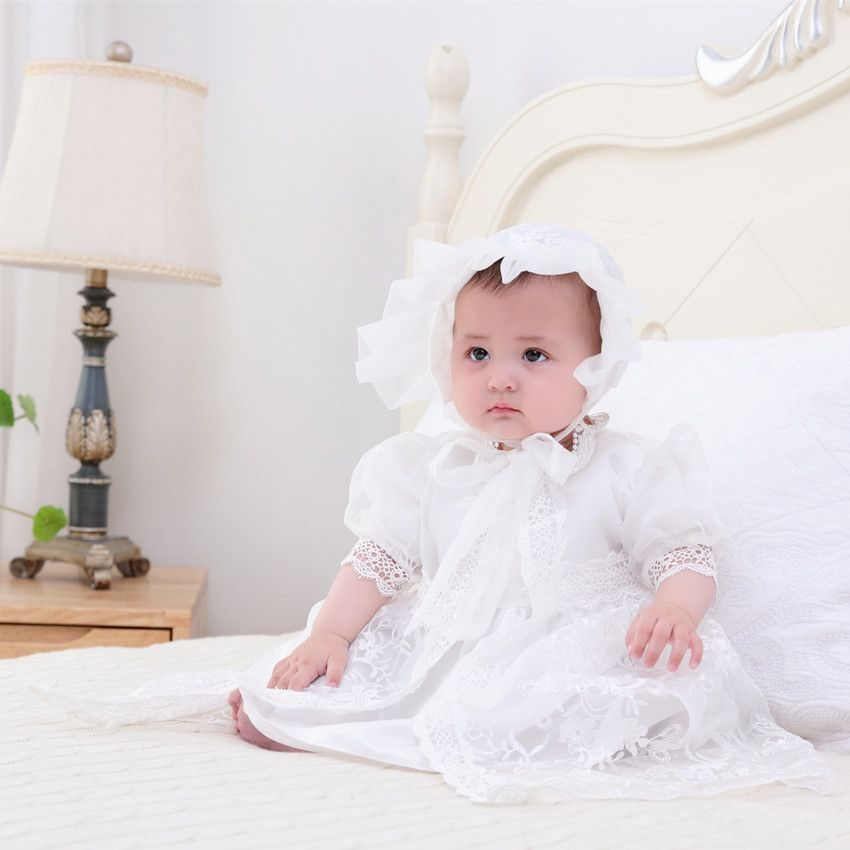 95d78b31876a  19.25 HAPPYPLUS Snow White Ivory Baby Girl Christening Dress Gown Set  Embroidery Baptismal Outfits Formal Baby Dresses Birthday 1 Year