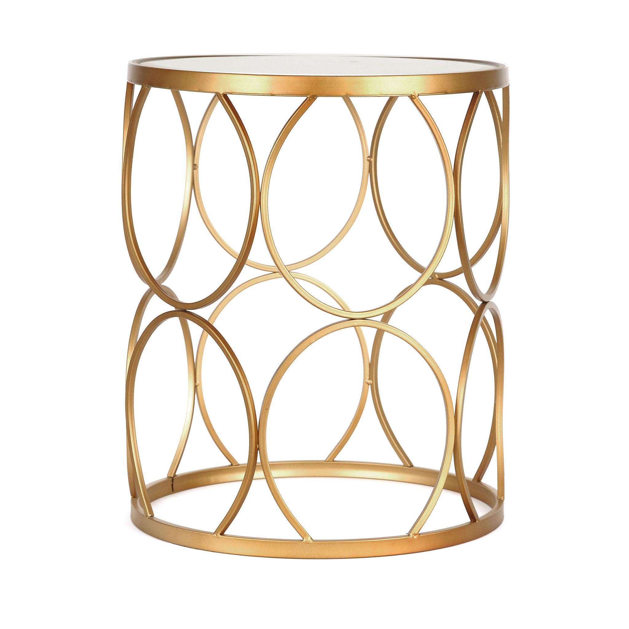 Gold Circles Mirrored Side Table Gold Circle Mirror Gold End Table Mirror Side Table