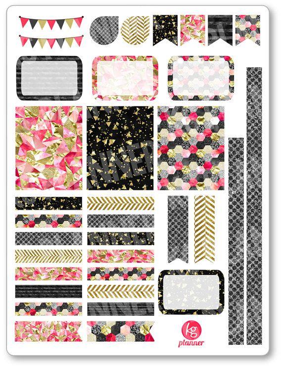 Pink Glitz Decorating Kit / Weekly Spread Planner Stickers for Erin Condren Planner, Filofax, Plum Paper