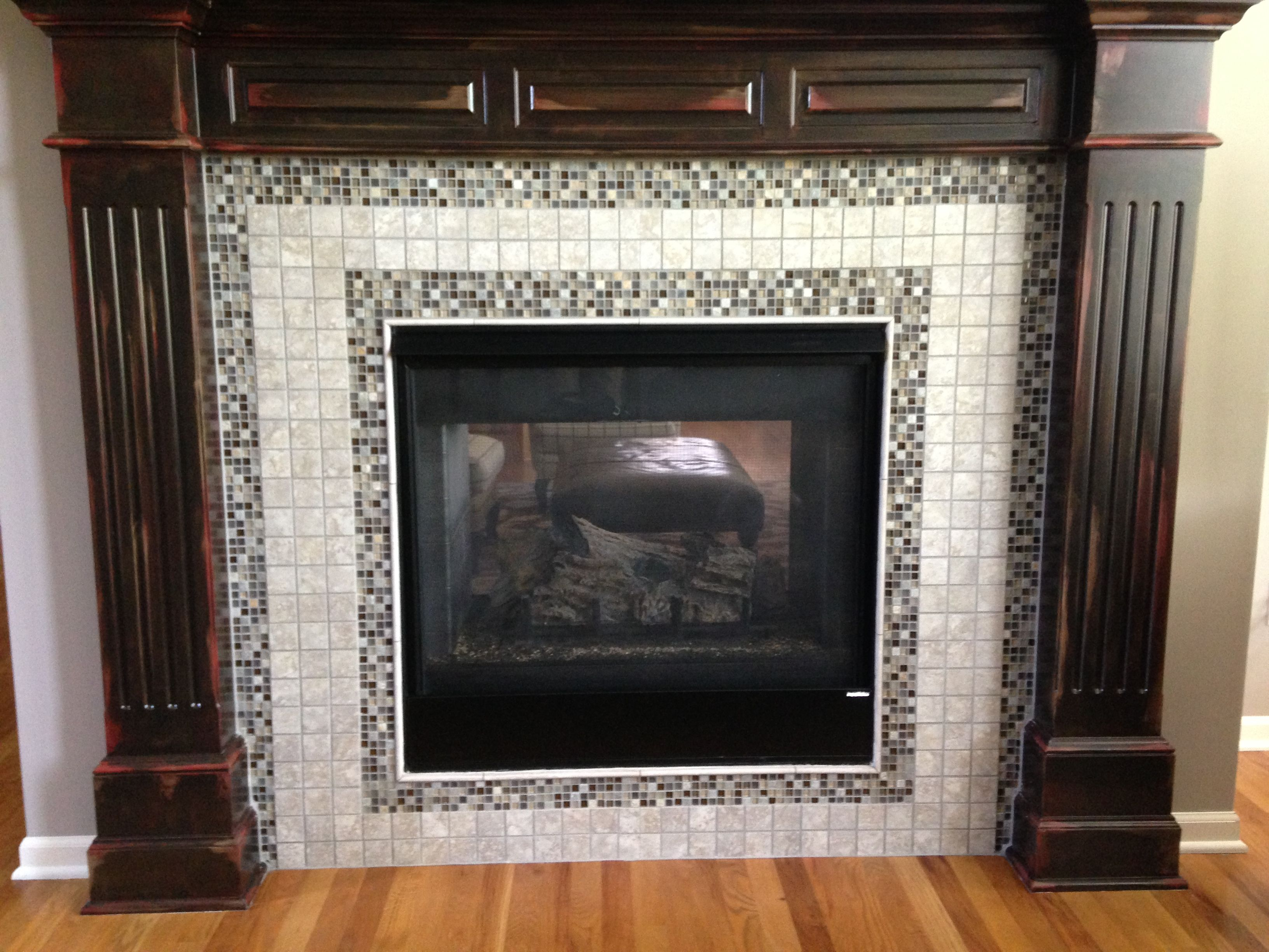 This Fireplace Surround Was White We Faux Painted The