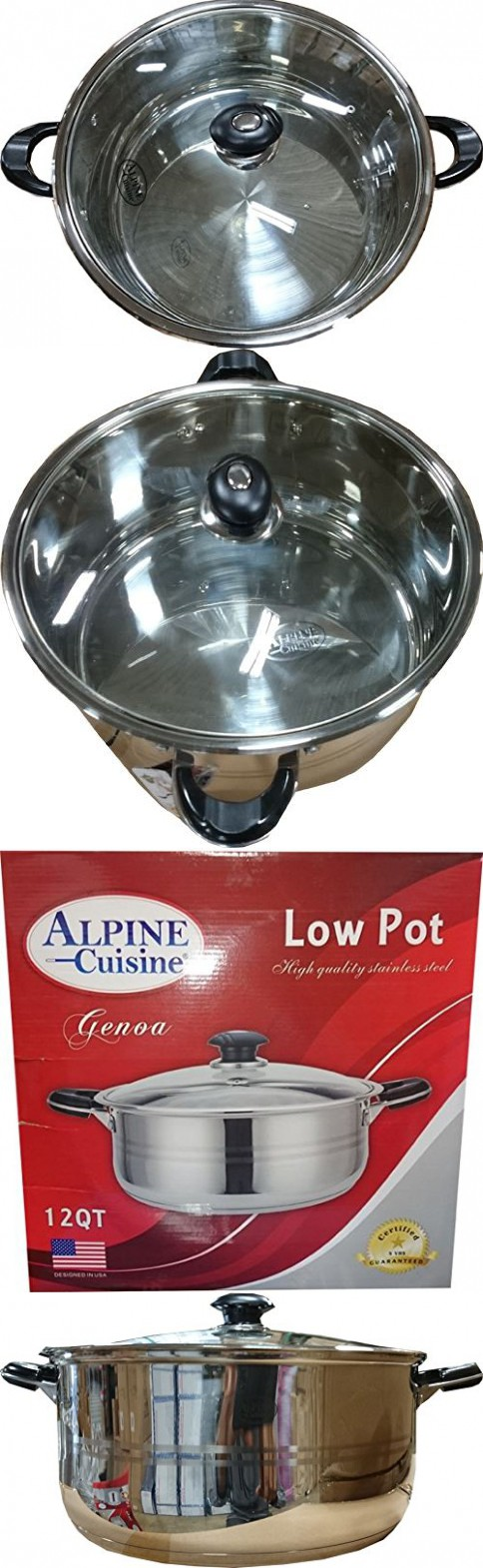 Alpine cuisine stainless steel low pot with lid 12qt for Alpine cuisine ceramic cookware