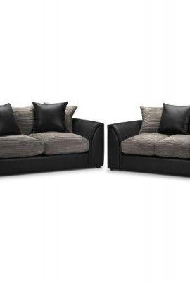 Byron 3 2 Seater Sofa Suite Jumbo Cord Slate And Rhino Black 3 Seater Sofa And 2 Seater Sofa Fabric And Leather Fire Retardant 0 Sofa Sofa Suites Fabric Sofa