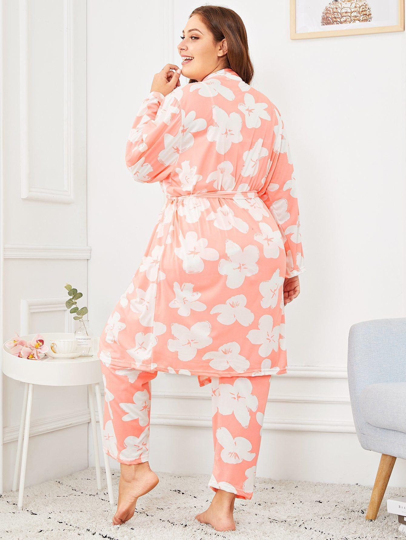9bb1c0101fd1 Plus Floral Print Cami Pajama Set With Robe Cami#Print#Floral   Art ...