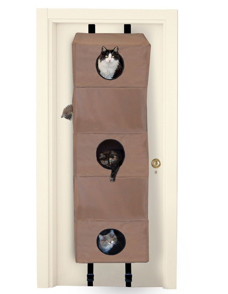 Merveilleux Door Hanging Small Cat Condo Tree 7 Peepholes Fun Climb Rough Play Foldable  Tan