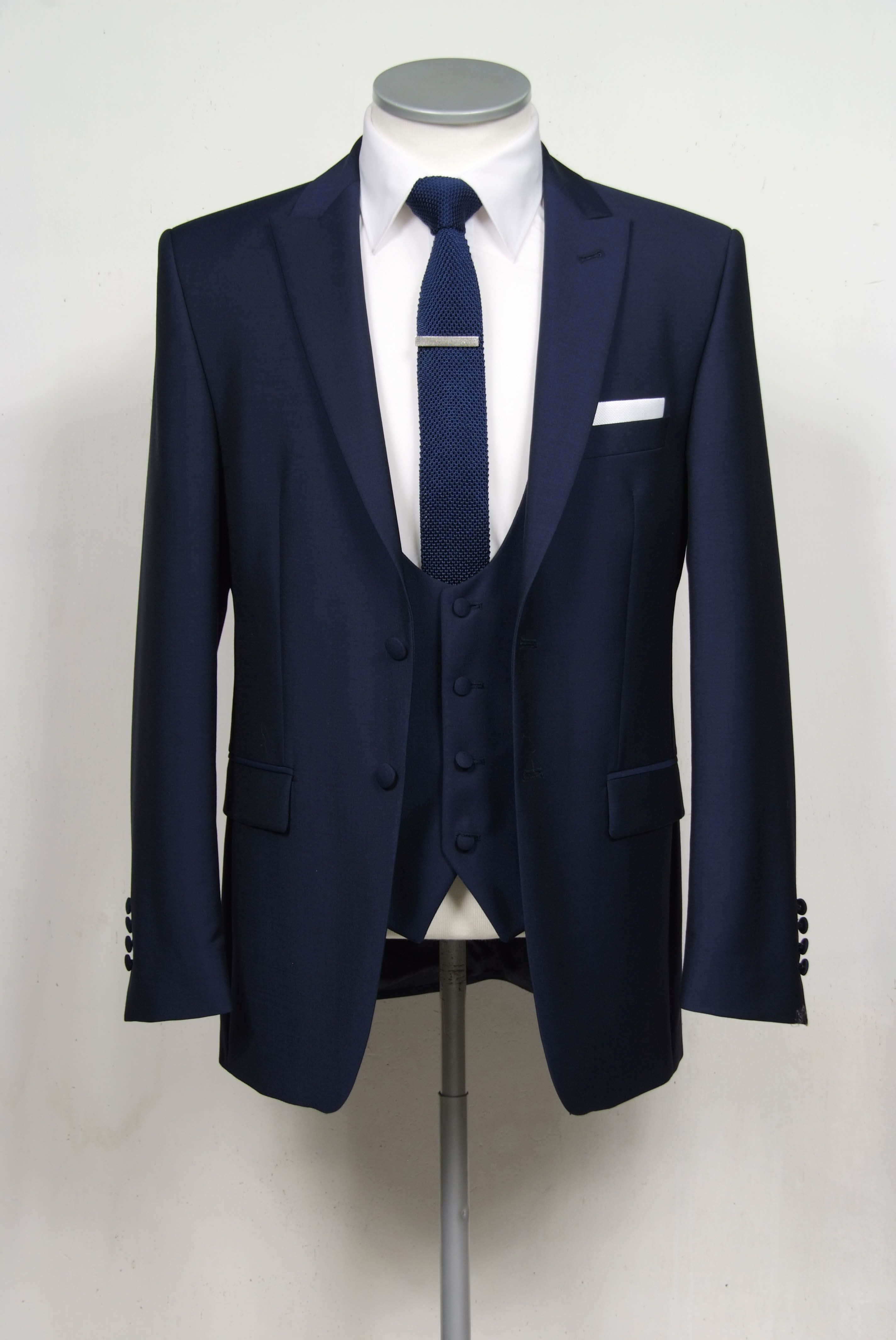 Navy slim fit 2 button single breasted suit with narrow peak lapel and  scoop neck waistcoat 28b72621612