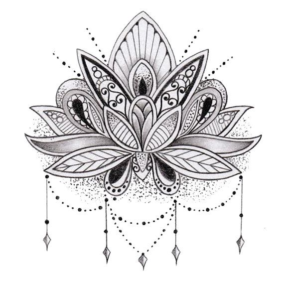 Sets Lotus Flower Temporary Tattoos Drawings And Paintings