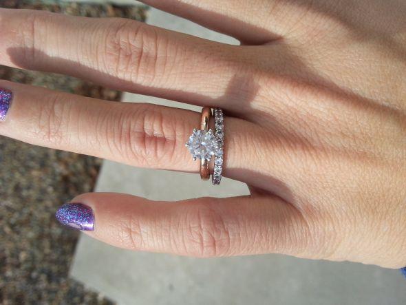 1 2 Ct Solitaire With 1 Ct Eternity Diamond Wedding Bands Wedding Bands Diamond Engagement