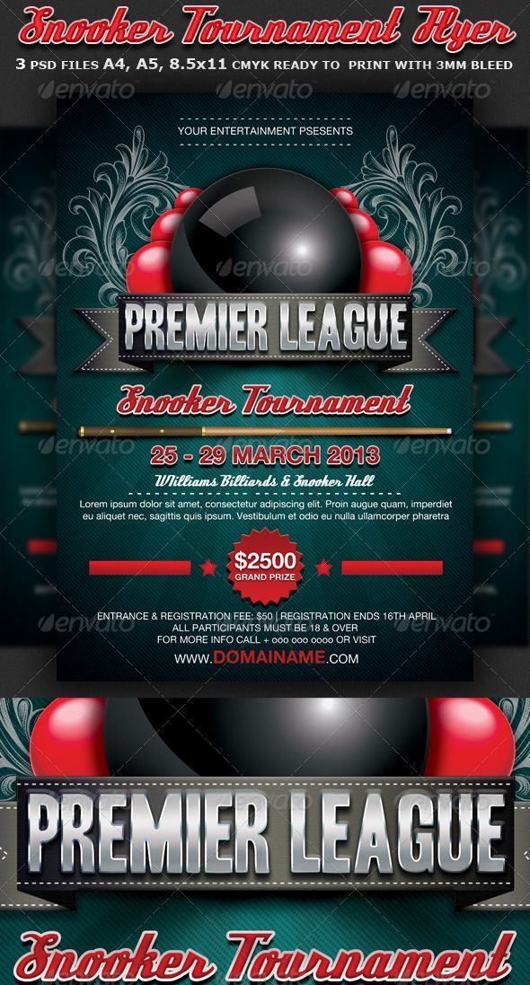 Snooker Flyer Template | Flyer Template, Promotion And Print Templates