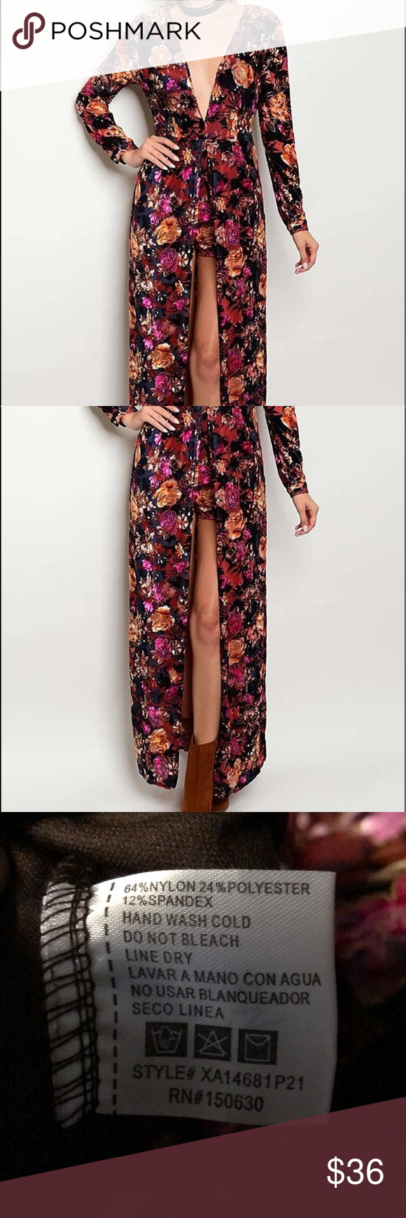 cef7a8758ad Floral print romper maxi dress Super cute floral print maxi romper! -Shorts  underneath -Floor length -Long sleeve Xtaren Dresses Maxi