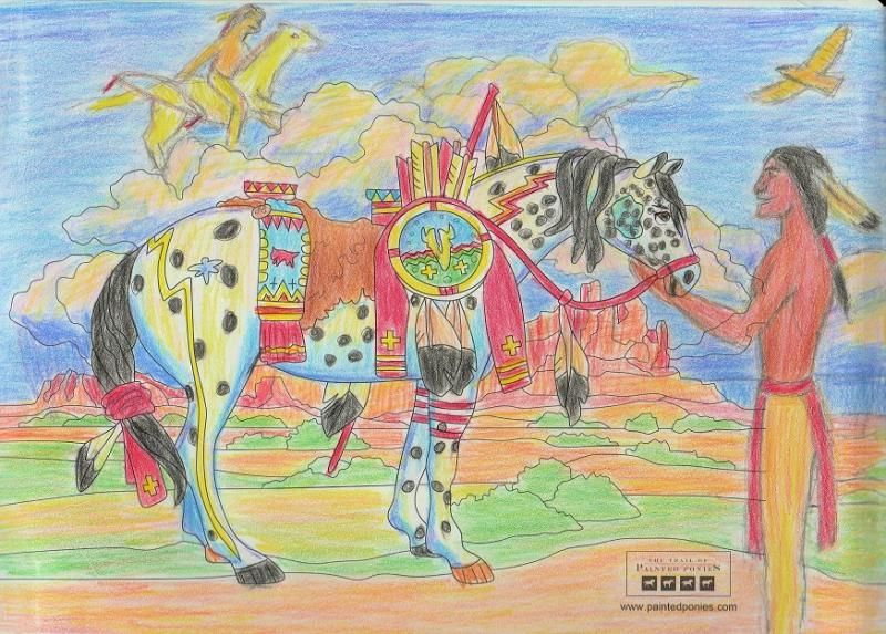 """""""War Pony"""" coloring page by Gerald TallTree. Medium: Colored Pencil"""