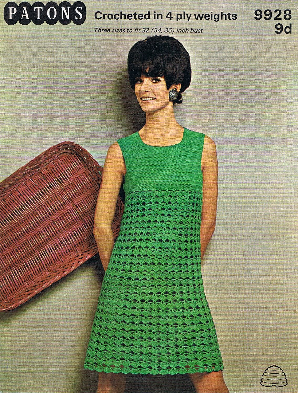Crochet Dress Pattern 1960s Groovy Dress PDF (T222). $3.20 USD, via ...