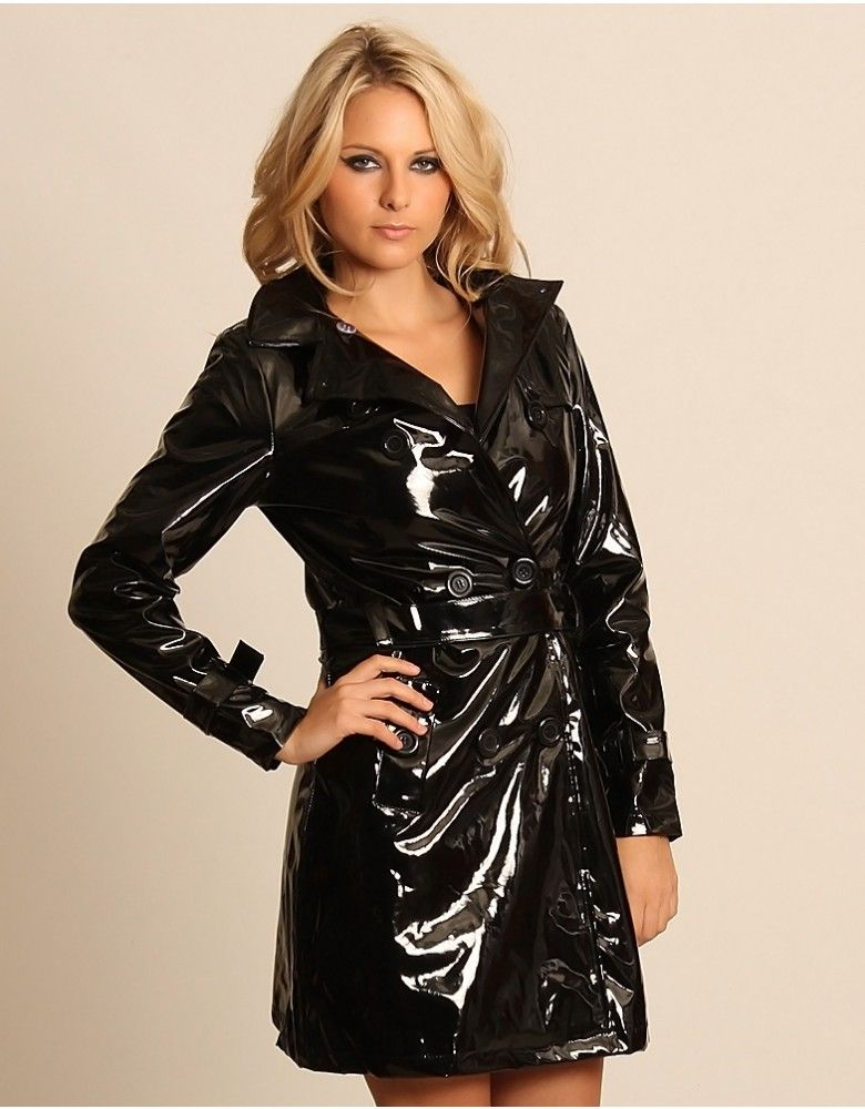 8e47e3e12 PVC Wet Look Black Mac Belted Double Breasted Trench Coat ...