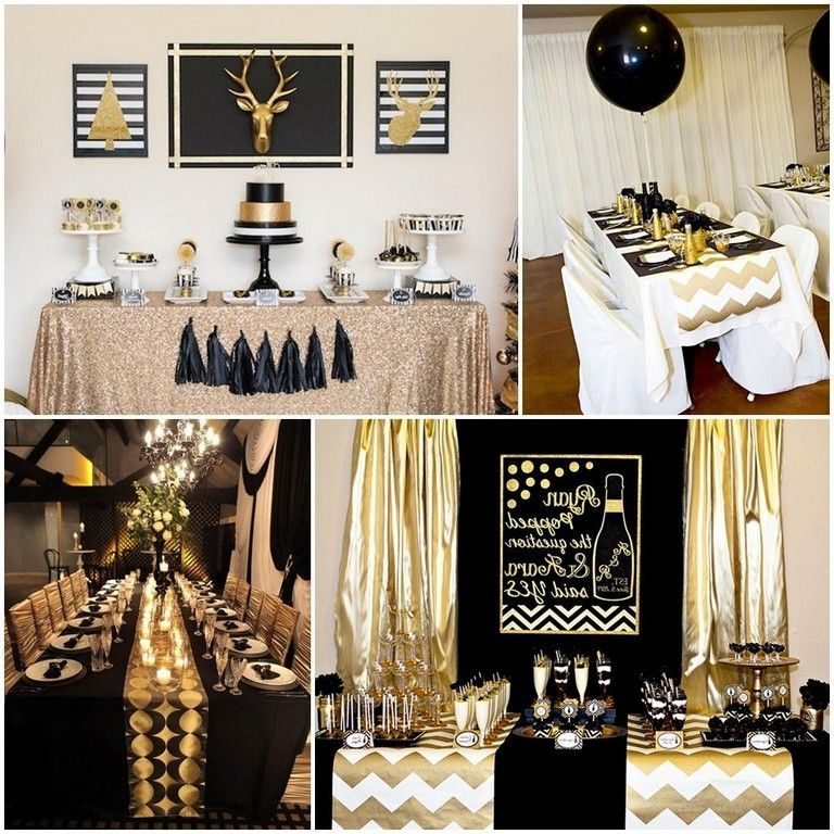 Details about  /40th Birthday Party Centerpieces Black and Gold Themed Party Centerpieces Sti...