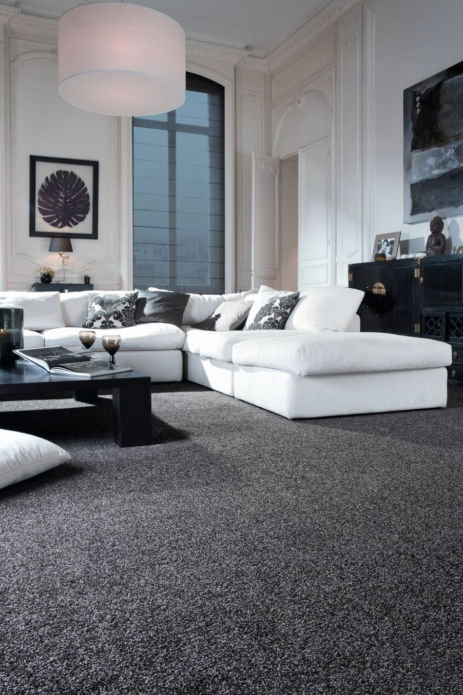 A Small Living Room Can Provide A Few Design Difficulties However With The I Grey Carpet Living Room White Living Room Decor Black And White Living Room Decor