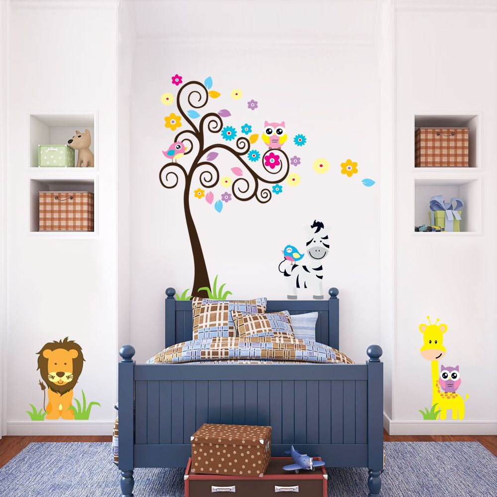 Furniture: White And Yellow Tree Wall Decal For Nursery With Wooden Babay  Crib In Grey