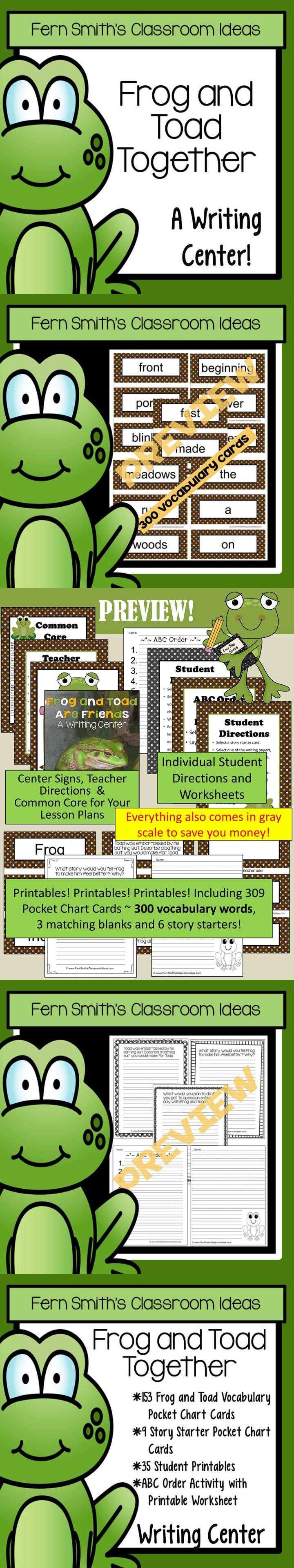 Worksheets Frog And Toad Together Worksheets frog and toad together writing center book companion 153 vocabulary pocket chart cards 9 story starter poc