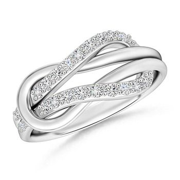 Angara Heart Encrusted Black Diamond Infinity Knot Ring in White Gold PdBCYJi