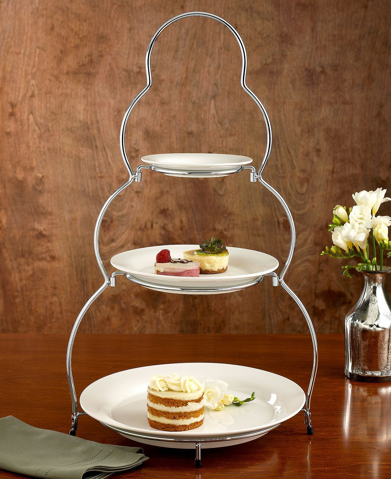 Godinger Siena 3 Tier Server With Plates 21 Tiered Server