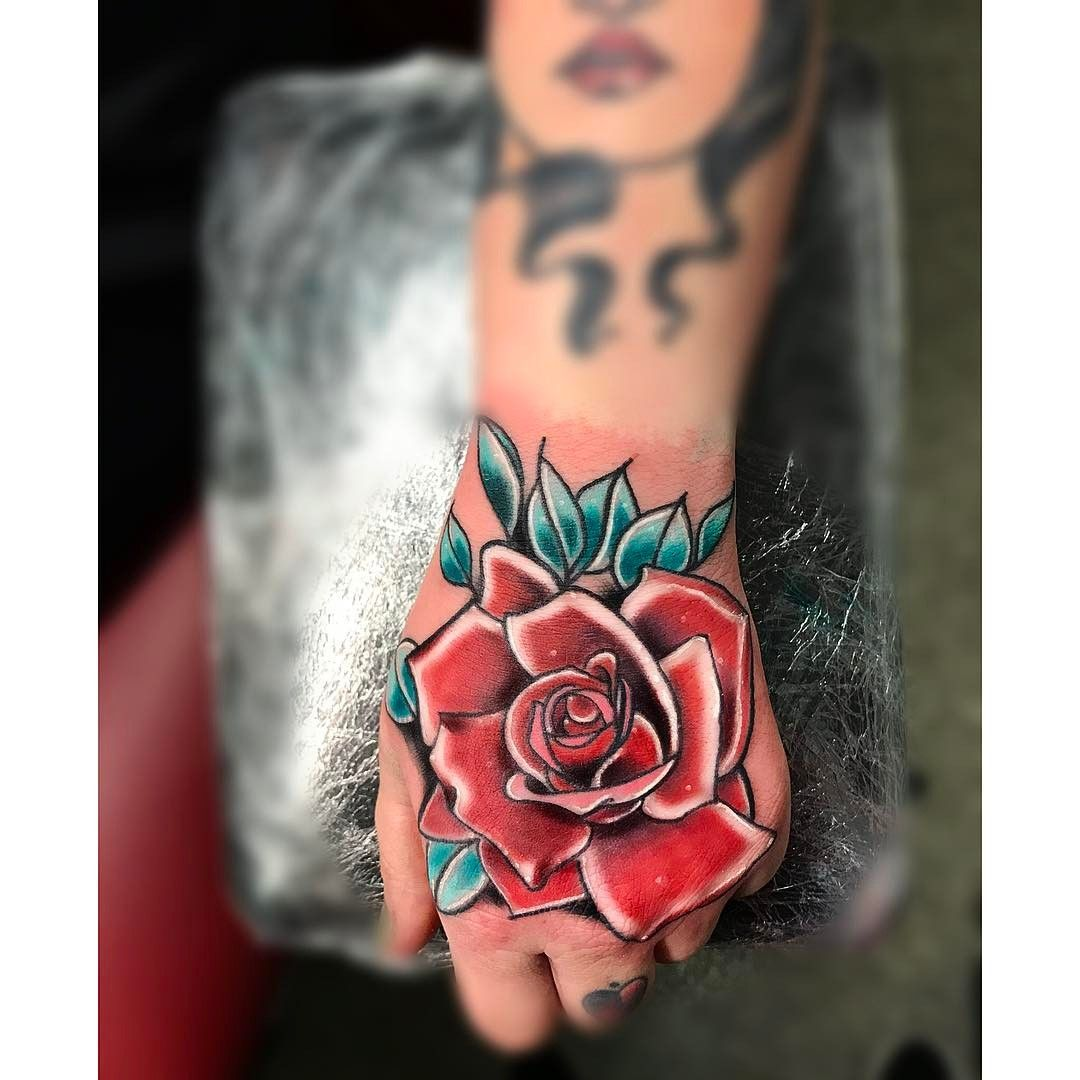 Neo Traditional Rose Tattoo Colorful Rose Tattoos Rose Tattoos Traditional Rose Tattoos
