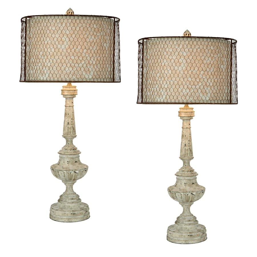 Provencal Floral Chicken Wire Lamps   French Country Lamps