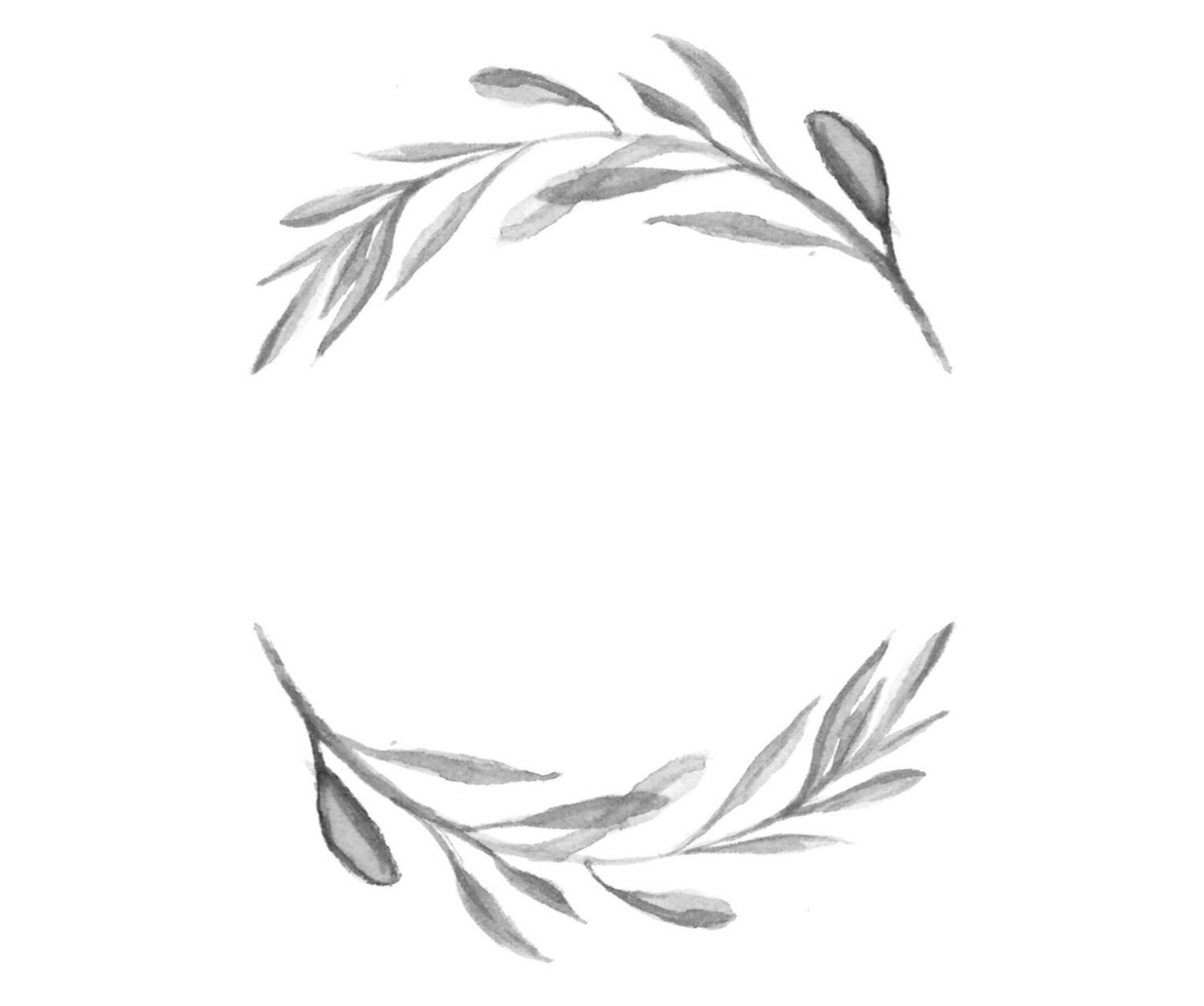 black and white watercolour wreath illustration by