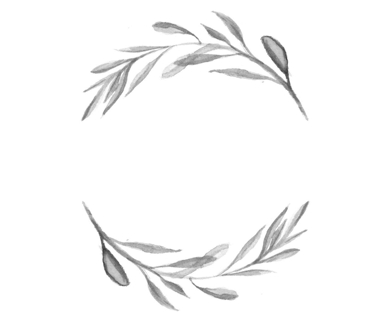 Black and White Watercolour Wreath Illustration ...