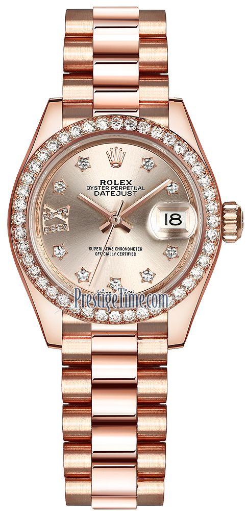16f2652631b Rolex Lady Datejust 28mm Everose Gold 279135RBR Sundust Diamond President
