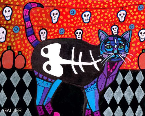 11x14 Day of the Dead Cat Mexican Folk Art by HeatherGallerArt, $24.00