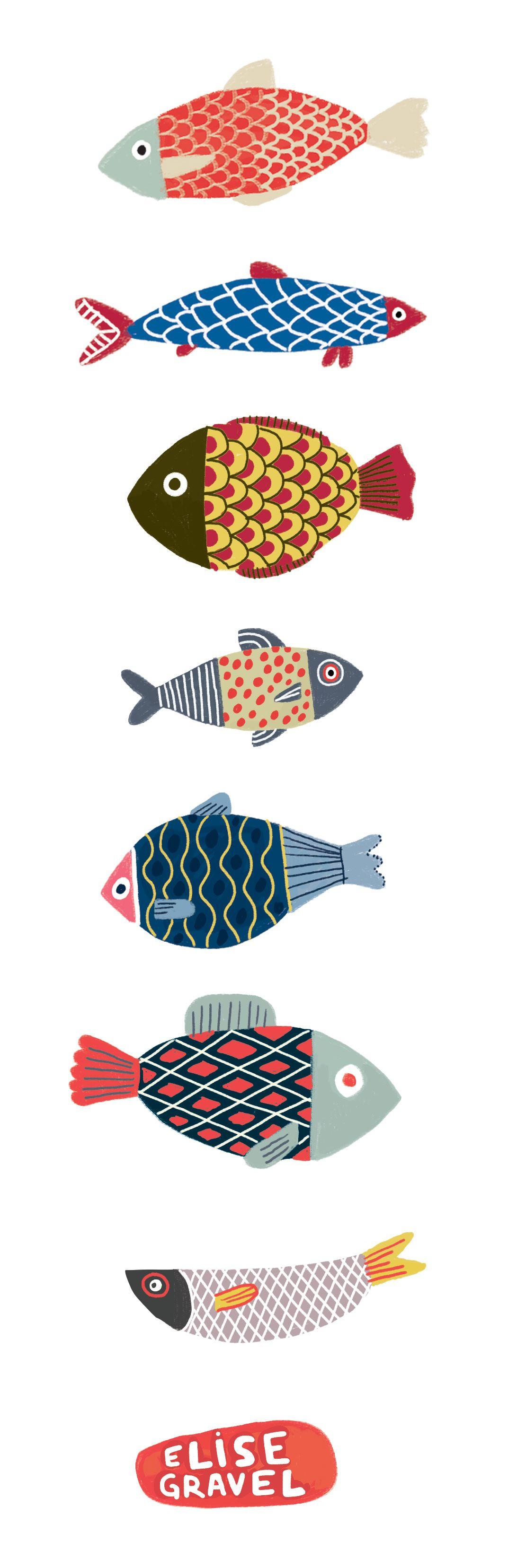 Elise Gravel illustration • fish • fun • art • cute • pattern ...