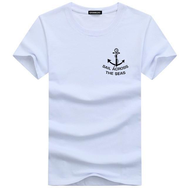713c729b79c Men T-Shirt Short Sleeve Plus Size T Shirt Man Clothes Slim Fit Anchor  College