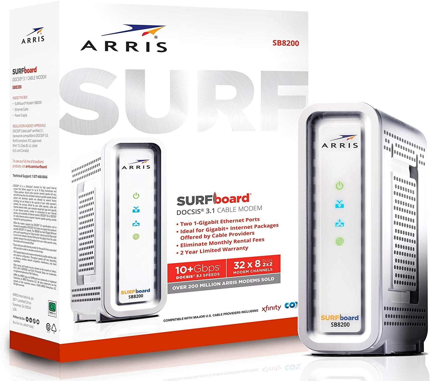 ARRIS SURFboard SB8200 DOCSIS 3.1 Gigabit Cable Modem in