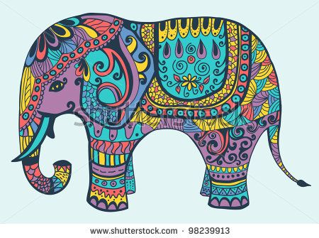 stylized vector patterned elephant in violet yellow turquoise and
