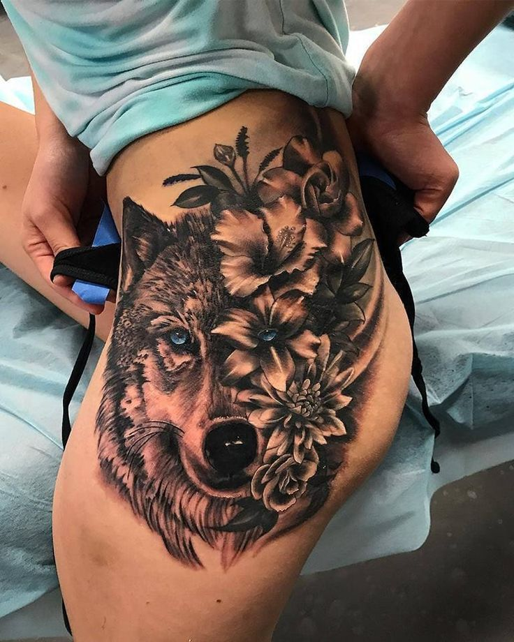 Powerful wolf and flower tattoos on the thigh - amazing tattoo ideas & de ... -  Powerful wolf and flower tattoos on the thigh – amazing tattoo ideas & designs – #Amazing #Flow - #amazing #amp #angeltattoo #cutetattoo #flower #foodideas #ideas #ideasforboyfriend #ideasposter #inspirationaltattoo #Powerful #projectideas #tattoo #TATTOOS #Thigh #wolf #wolftattoo